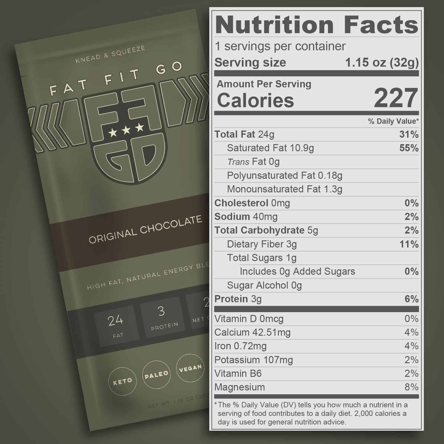 Nutrition Facts - Fat Fit Go Original Chocolate