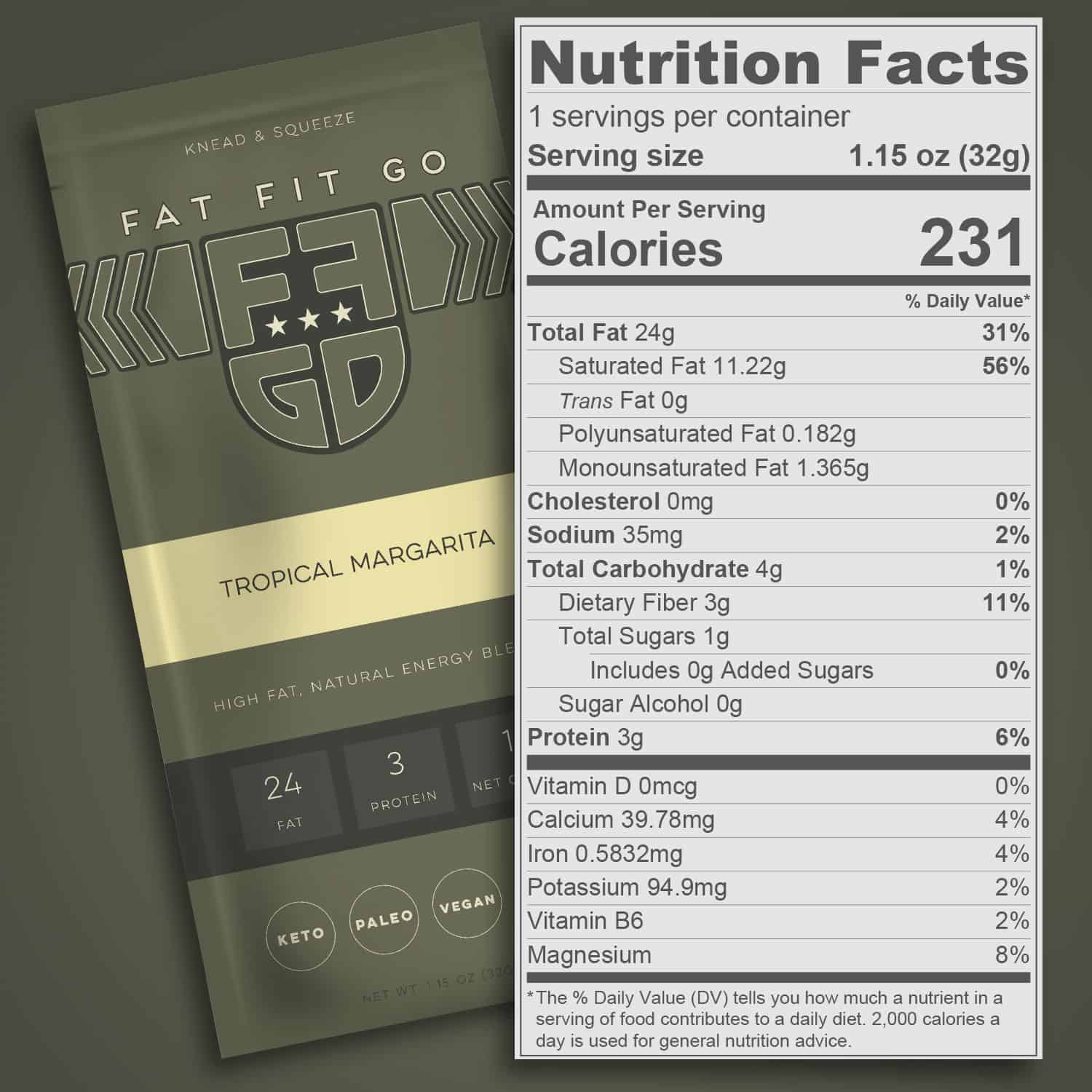 Nutrition Facts - Fat Fit Go Tropical Margarita